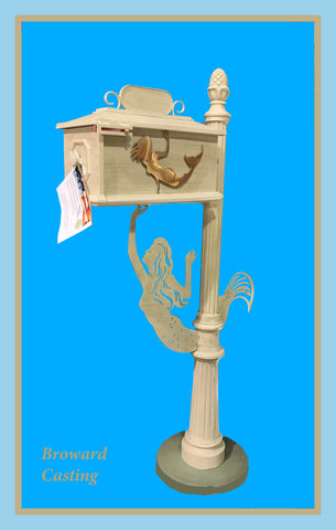 Mermaid w/Mermaid Inserts HIGH QUALITY CAST ALUMINUM MAILBOX - Broward Casting
