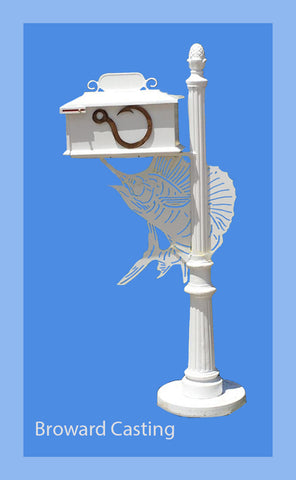 SAILFISH w/Hook Inserts HIGH QUALITY CAST ALUMINUM MAILBOX - Broward Casting