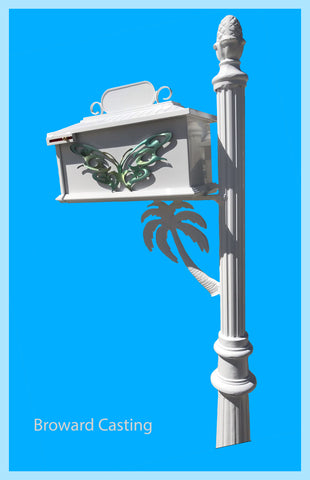 CUSTOM ORDERED/PAINTED PALM TREE w/Butterfly Inserts HIGH QUALITY CAST ALUMINUM MAILBOX