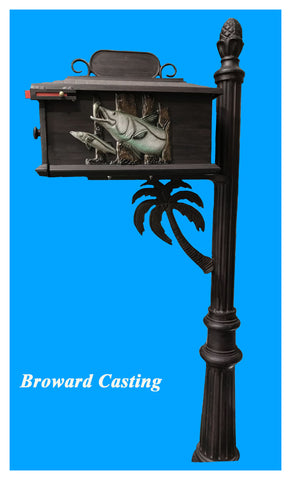 PALM TREE w/Snook inserts HIGH QUALITY CAST ALUMINUM MAILBOX - Broward Casting