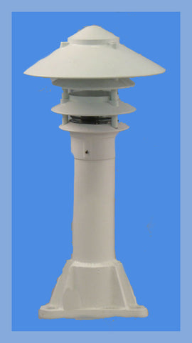 "1"" or 3' ALUMINUM ROUND POST WITH PAGODA DOCK LIGHT - Broward Casting"