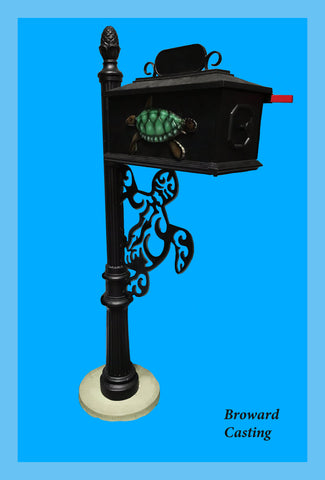 TURTLE w/Turtle Inserts HIGH QUALITY CAST ALUMINUM MAILBOX - Broward Casting