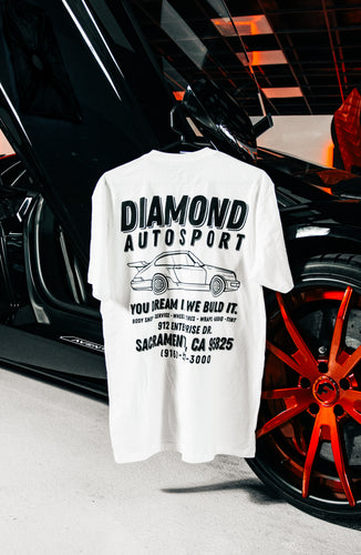 Diamond Auto Porsche White Tee