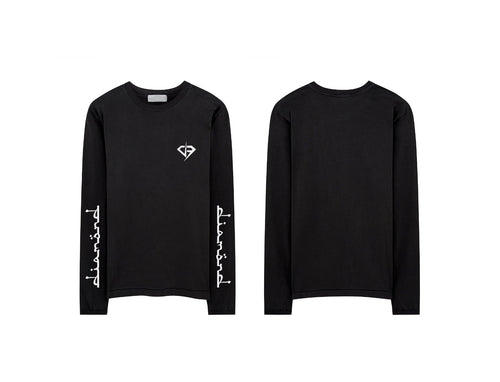 Diamond Text Logo Long Sleeve Shirt - Black