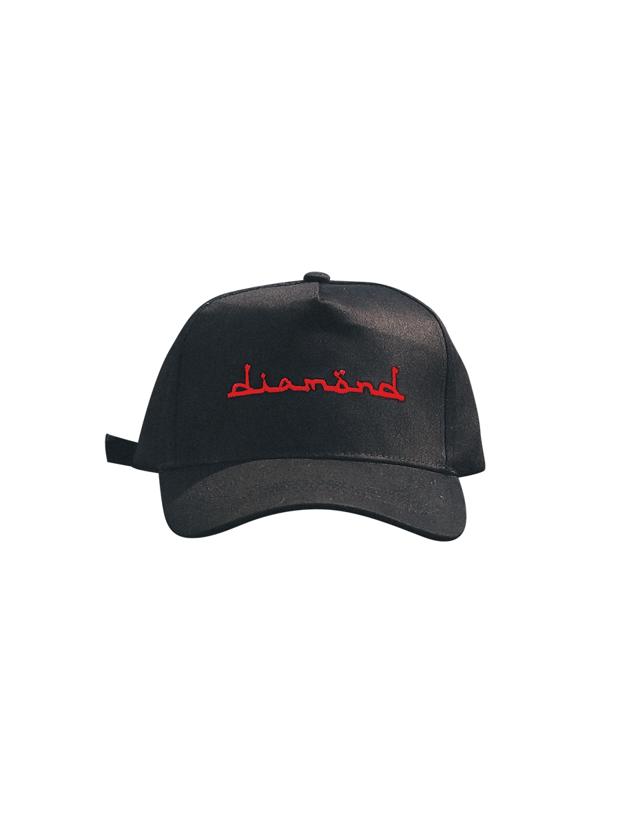 Black Cap - Red Diamond Text