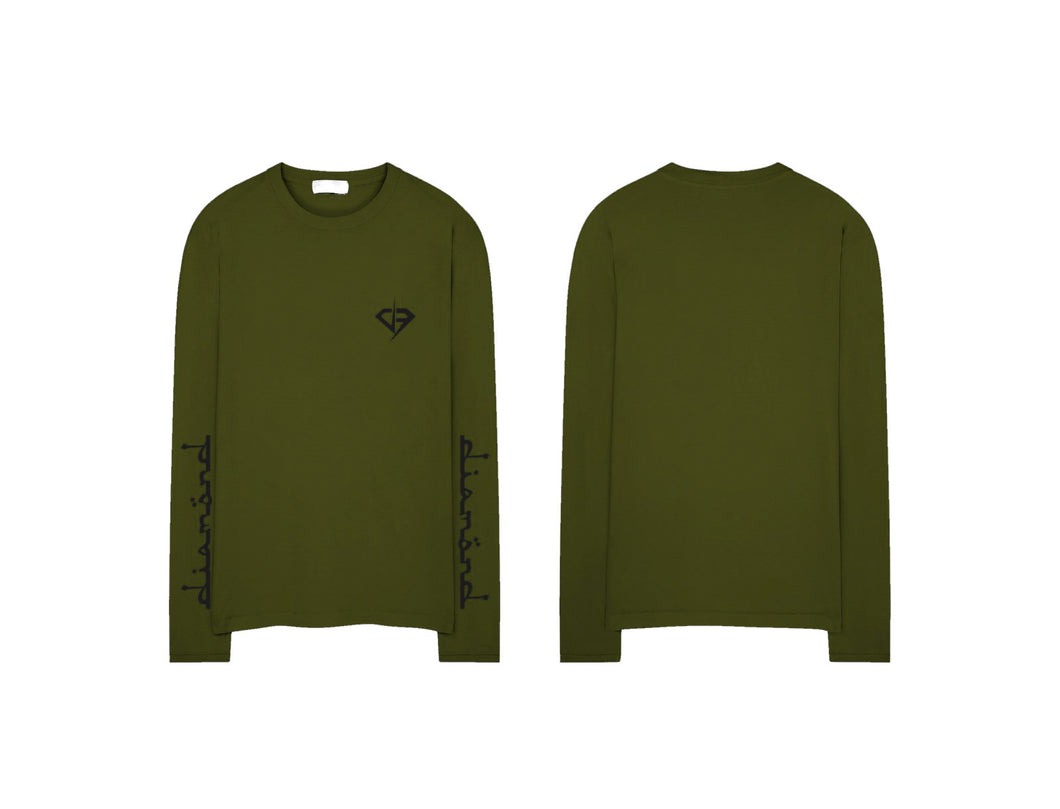 Diamond Text Logo Long Sleeve Shirt - Army Green