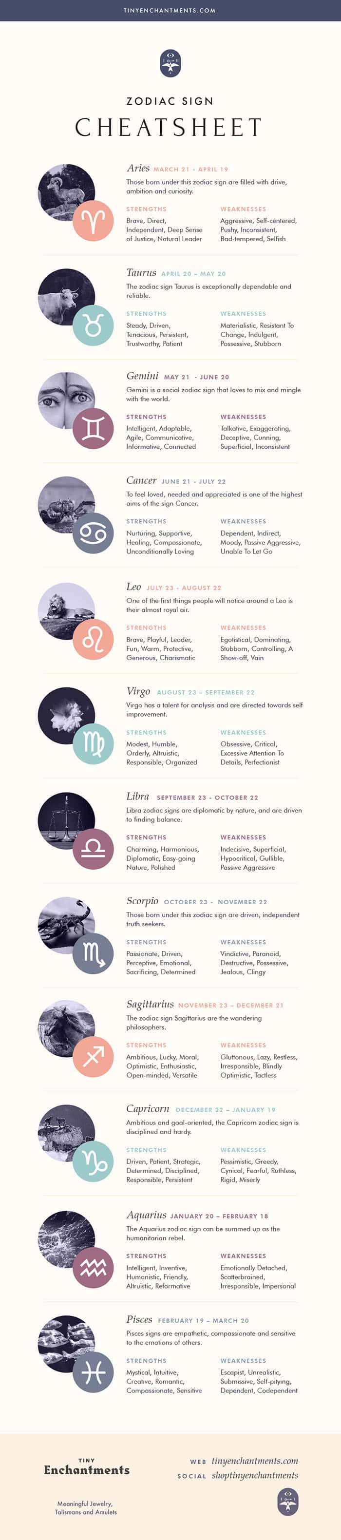The 12 Zodiac Signs List Infographic