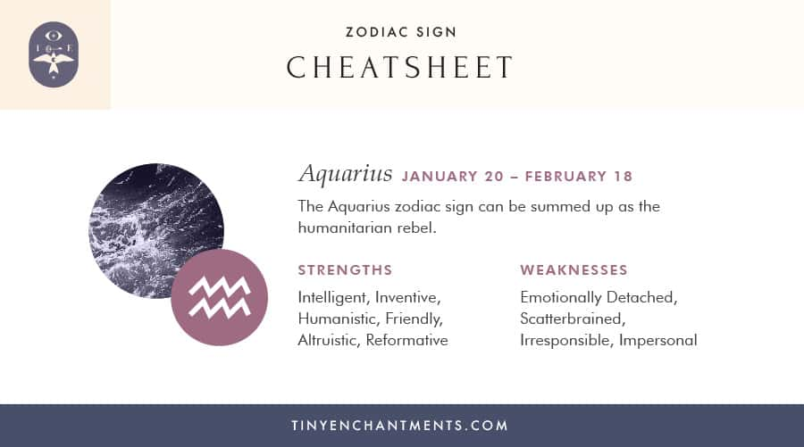 Aquarius - The 12 Zodiac Signs List - Personality, Strengths, Weaknesses - A Cheat Sheet