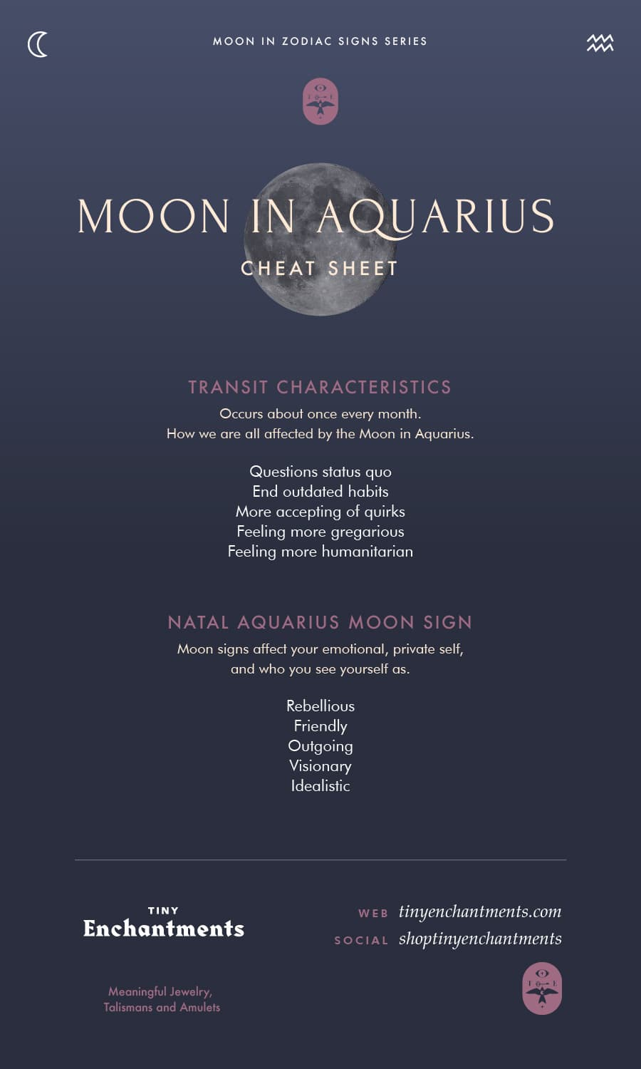 Aquarius Moon Sign and Moon in Aquarius Transit Meanings Full Infographic