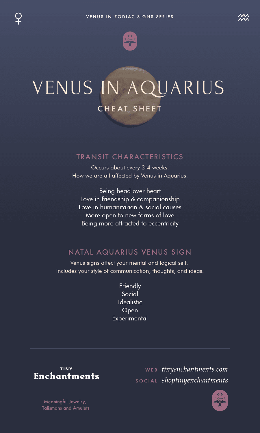 Venus in Aquarius Transit / Aquarius Venus Sign Personality Meanings Infographic