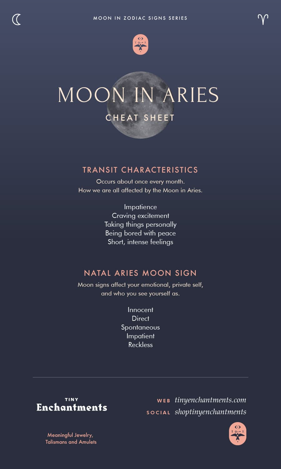 Aries Moon Sign and Moon in Aries Transit Meanings Infographic