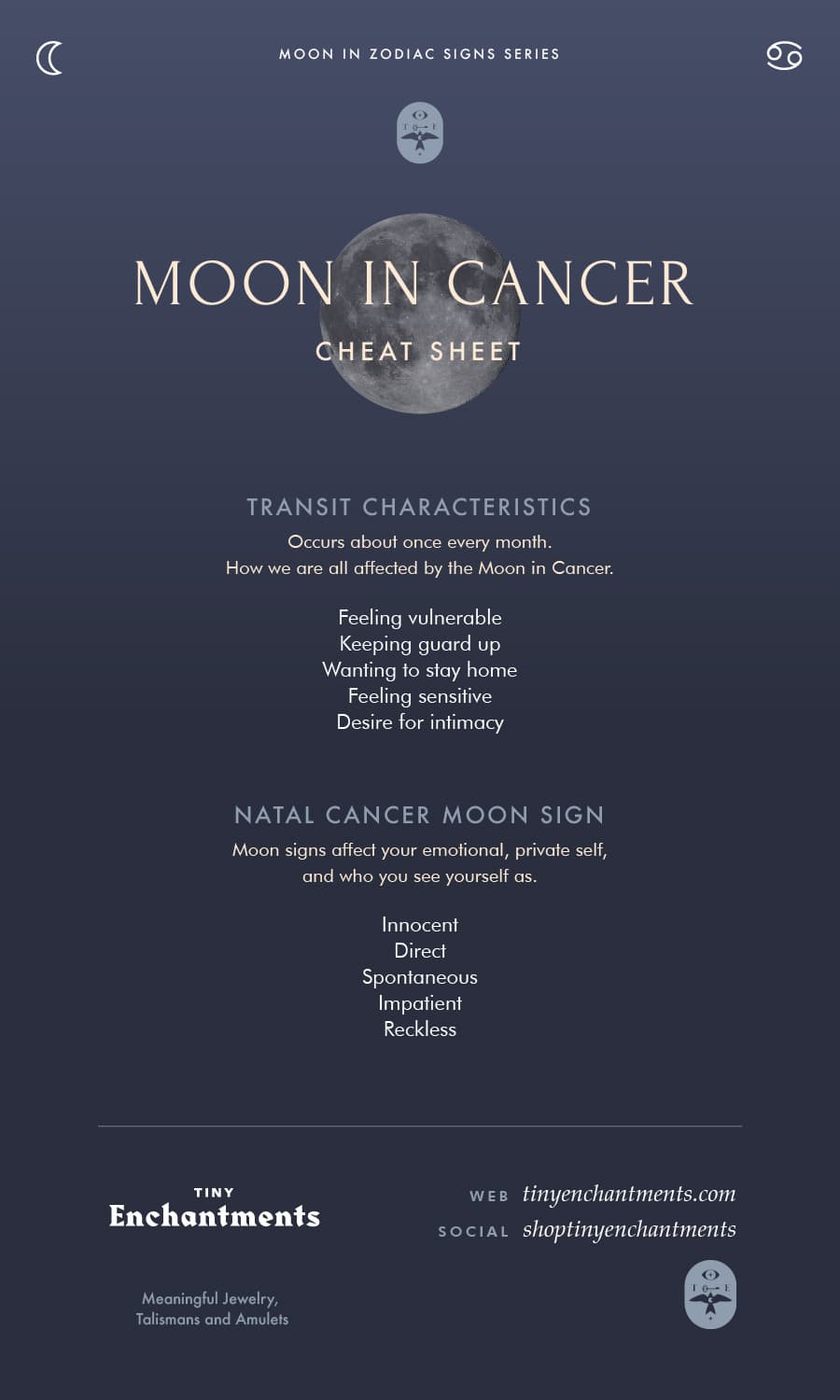 Cancer Moon Sign and Moon in Cancer Transit Meanings Infographic