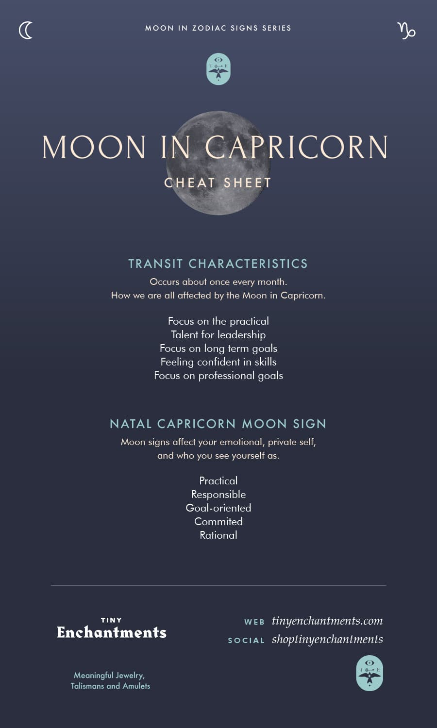 Capricorn Moon Sign and Moon in Capricorn Transit Meanings Infographic Full