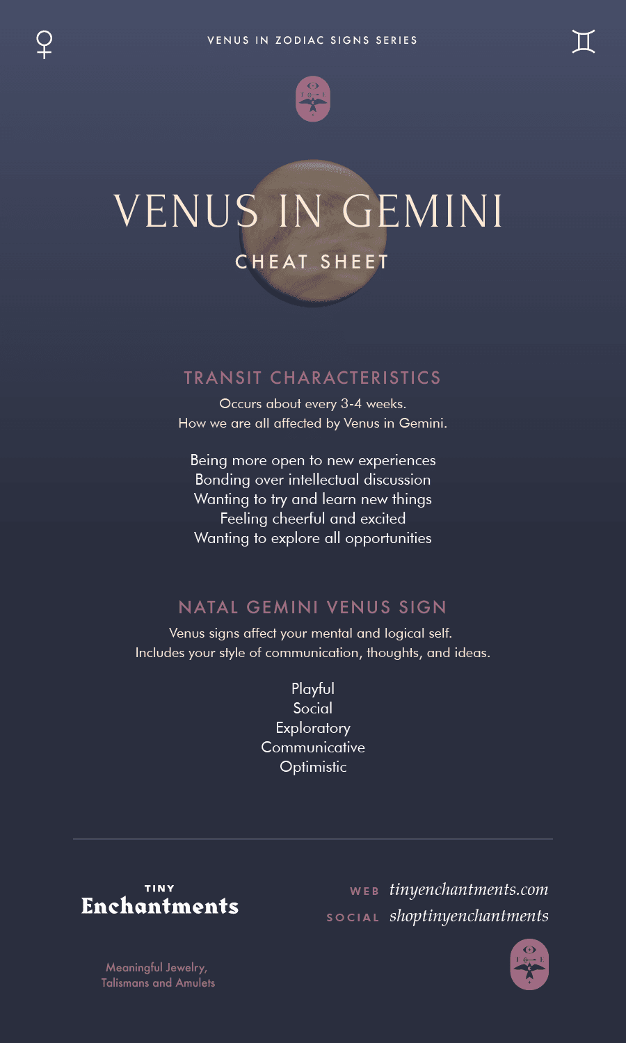 Venus in Gemini Transit / Gemini Venus Sign Personality Meanings Infographic
