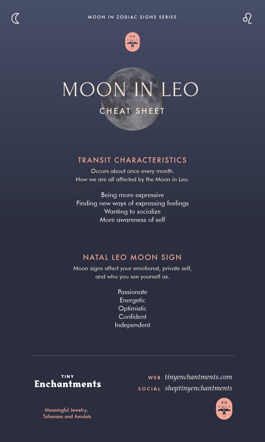 Leo Moon Sign and Moon in Leo Transit Meanings Infographic
