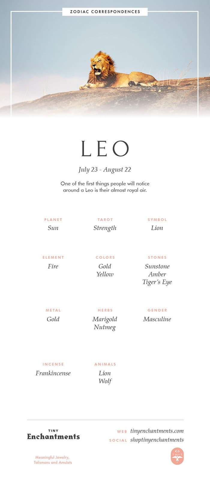 Leo Zodiac Sign Correspondences - Leo Personality, Leo Symbol, Leo Mythology and Leo Meaning Full Infographic