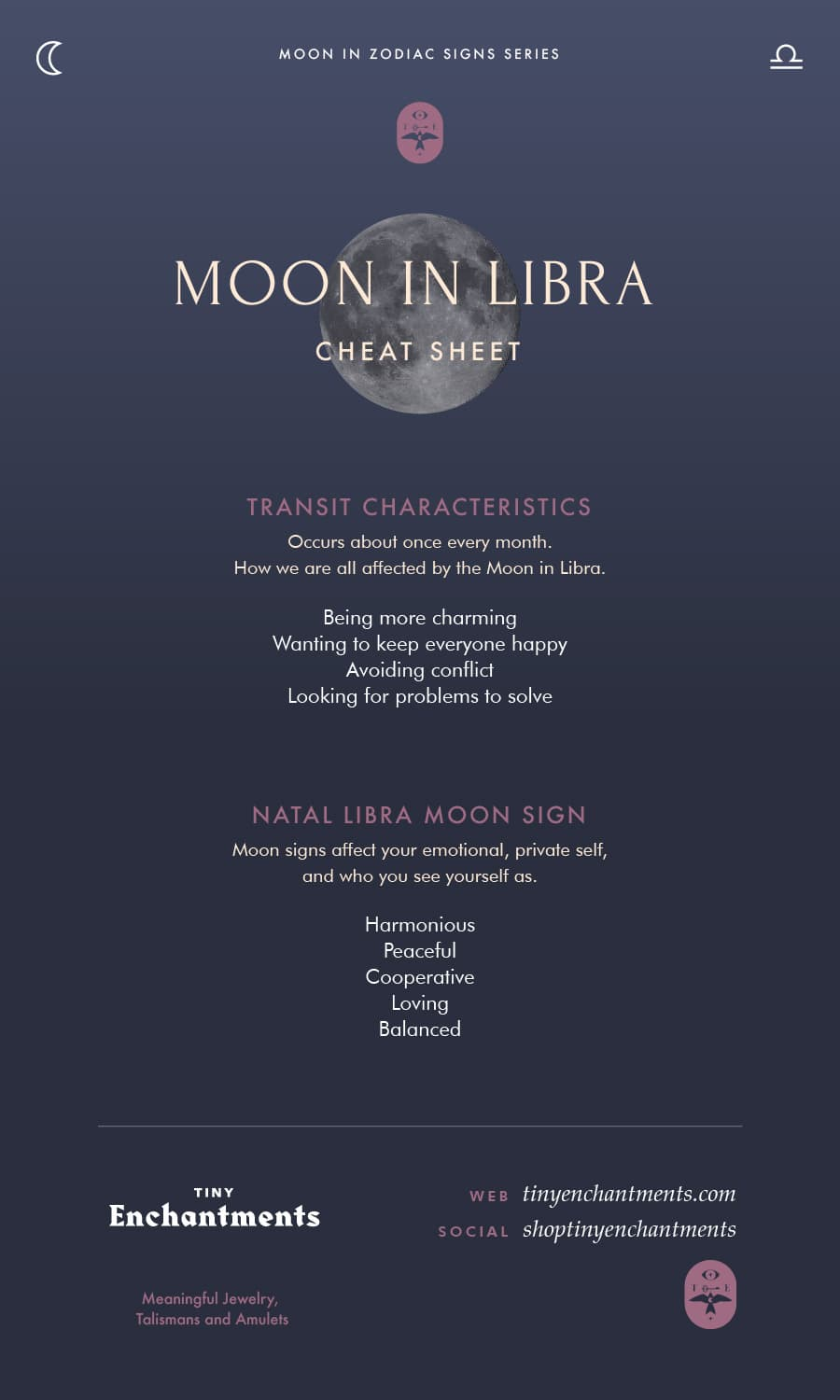 Libra Moon Sign and Moon in Libra Transit Meanings Infographic