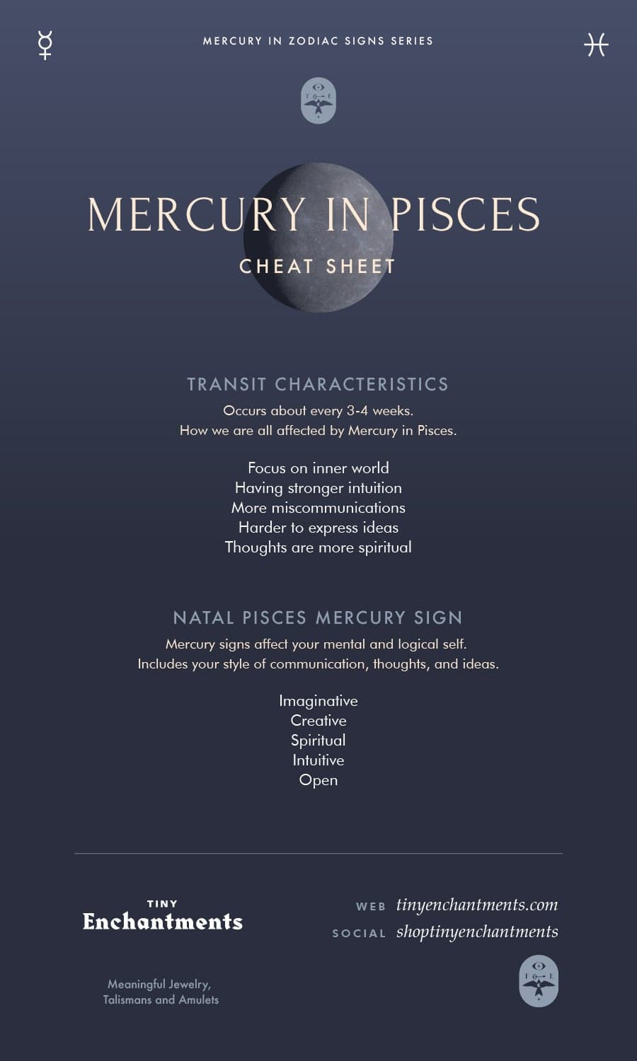 The Pisces Mercury - Pisces Mercury Sign and Mercury in Pisces Transit Meanings Infographic