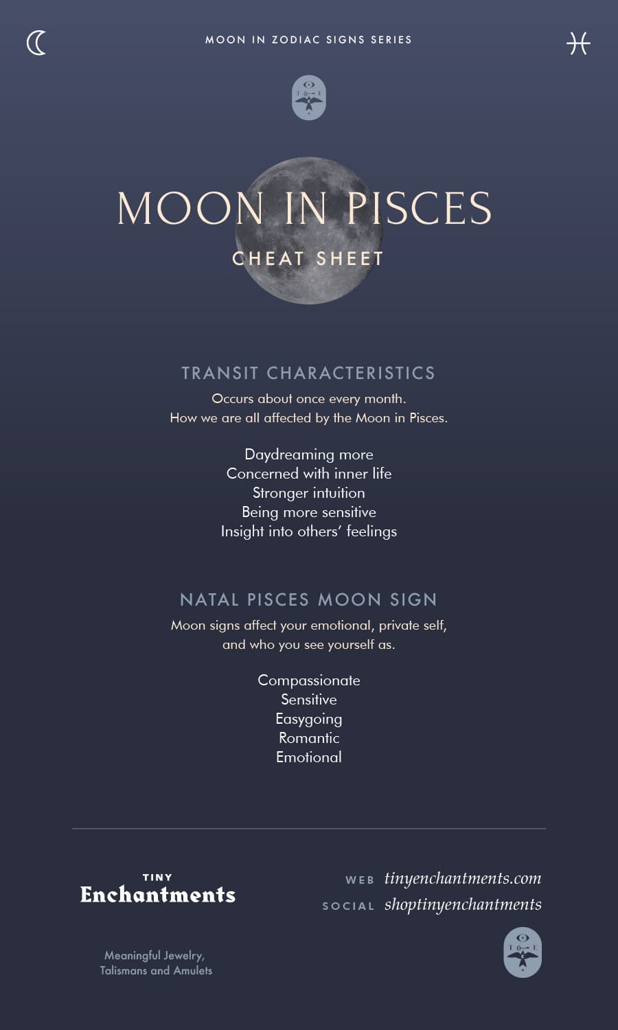 The Pisces Moon - Pisces Moon Sign and Moon in Pisces Transit Meanings Infographic