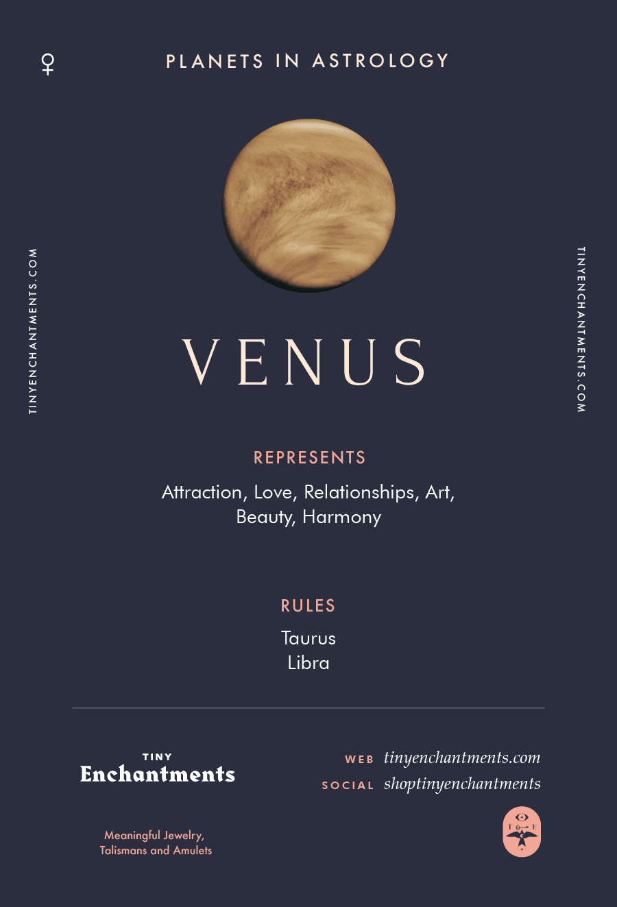 Venus Sign in Astrology - Planet Meaning, Zodiac, Symbolism, Characteristics Infographic