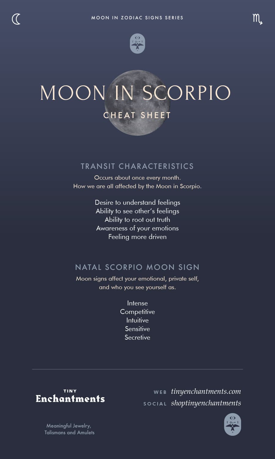 Scorpio Moon Sign and Moon in Scorpio Transit Meanings Infographic