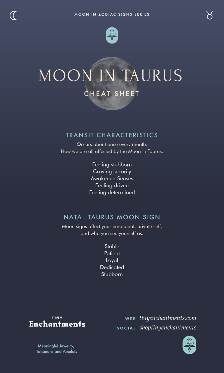 Taurus Moon Sign and Moon in Taurus Transit Meanings Infographic