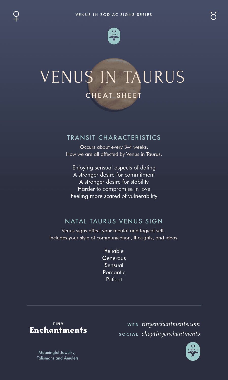 Venus in Taurus Transit / Taurus Venus Sign Personality Meanings Infographic