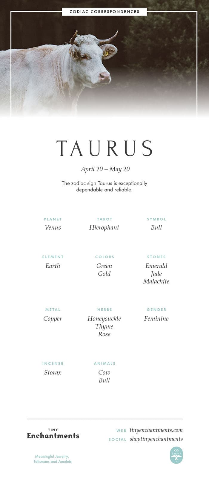 Taurus Zodiac Sign Correspondences - Taurus Personality, Taurus Symbol, Taurus Mythology and Taurus Meaning Full Infographic