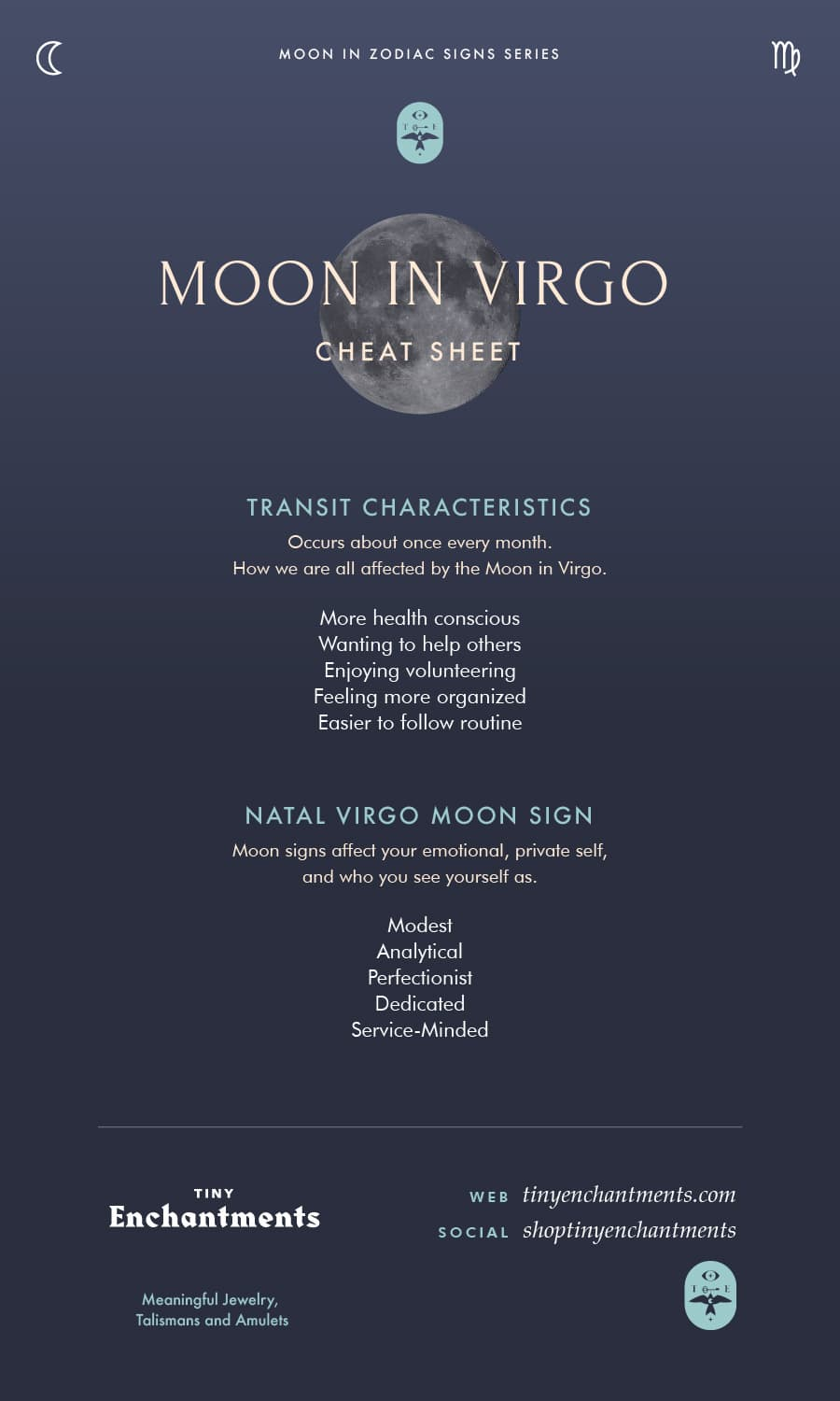 Virgo Moon Sign and Moon in Virgo Transit Meanings Infographic