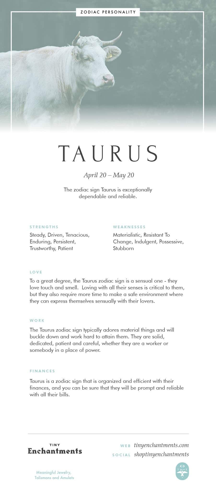 Taurus Zodiac Sign Correspondences - Taurus Personality, Taurus Symbol, Taurus Mythology and Taurus Meaning