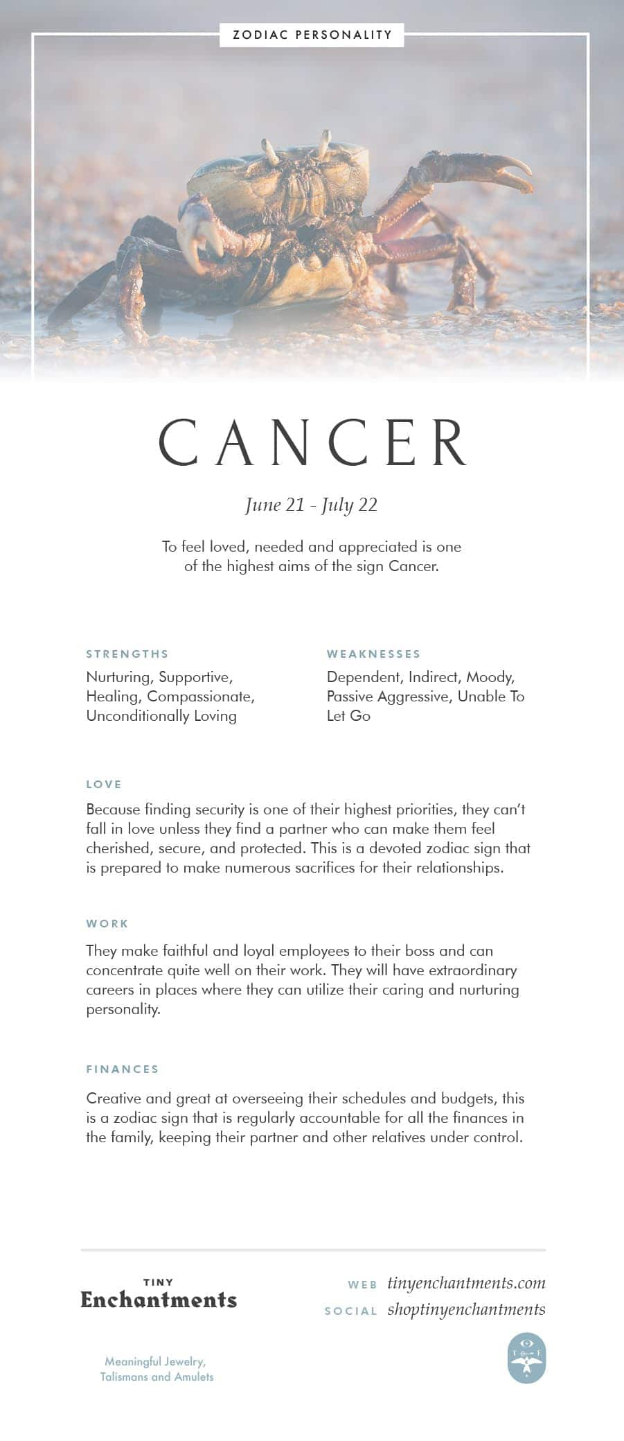 Cancer Zodiac Sign Correspondences - Cancer Personality, Cancer Symbol, Cancer Mythology and Cancer Meaning