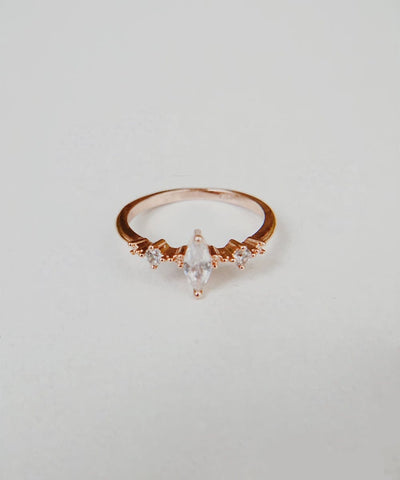 Amaranth Stacking Ring - Rose Gold Minimalist, Dainty, Thin, Stackable, Delicate, Marquise, Cubic Zirconia Ring - Amaranth Stacking Ring - Rose Gold Minimalist, Dainty, Thin, Stackable, Delicate, Marquise, Cubic Zirconia Ring