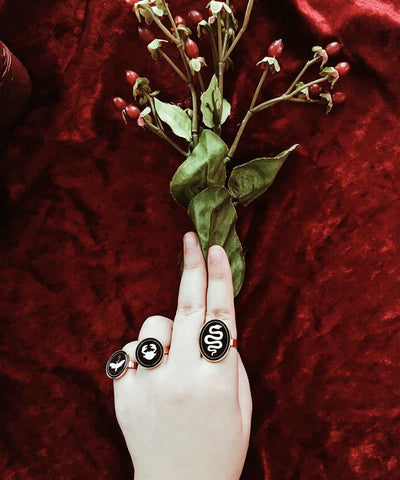 Snake Ring - Gold Coin Ring, Enamel Ring, Animal Spirit Ring, Black and White Animal Ring - On ritual altar - wearing occult ring