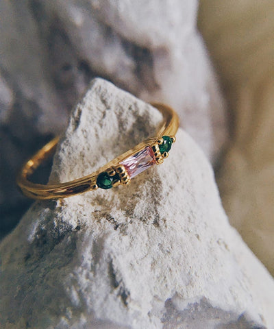 Aphrodite Stacking Ring - Minimalist, Dainty, Thin, Stackable, Delicate, Green and Pink Cubic Zirconia Ring - Aphrodite Stacking Ring - Minimalist, Dainty, Thin, Stackable, Delicate, Green and Pink Cubic Zirconia Ring