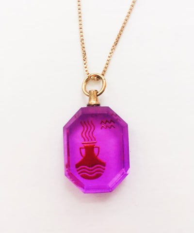 Aquarius Necklace - Purple Zodiac Birthstone Crystal Pendant Necklace - Back Crystal Pendant