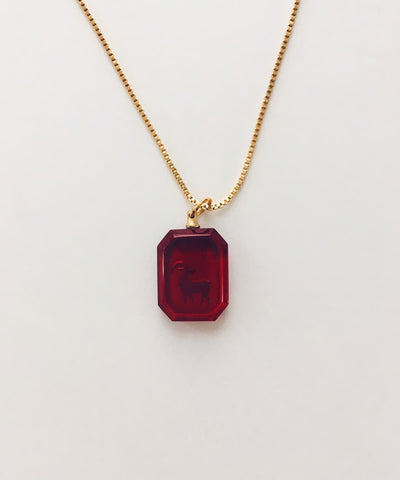 Aries Necklace - Red Zodiac Birthstone Crystal Pendant Necklace - Crystal Back