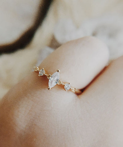 Artemis Stacking Ring - Minimalist, Marquis, Dainty, Thin, Gold Stackable, Delicate, Marquis, Geometric Cubic Zirconia Ring, CZ - Artemis Stacking Ring - Minimalist, Marquis, Dainty, Thin, Gold Stackable, Delicate, Marquis, Geometric Cubic Zirconia Ring, CZ
