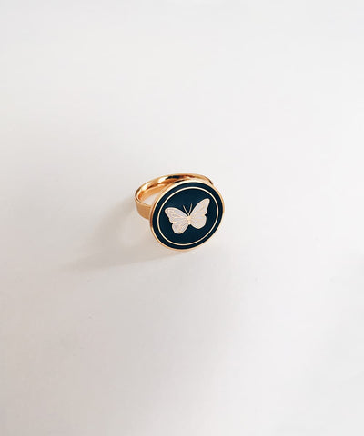 Butterfly Ring - Gold Coin Ring, Enamel Ring, Animal Spirit Ring, Black and White Animal Ring - Front