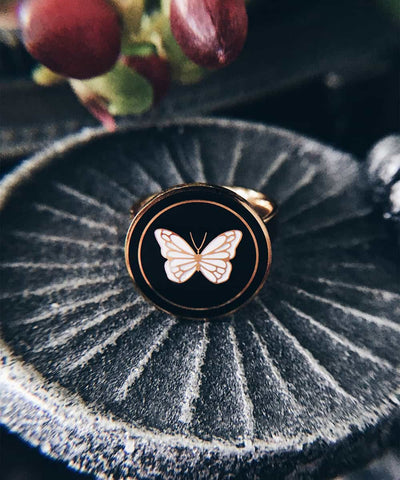 Butterfly Ring - Gold Coin Ring, Enamel Ring, Animal Spirit Ring, Black and White Animal Ring - Lifestyle-closeup