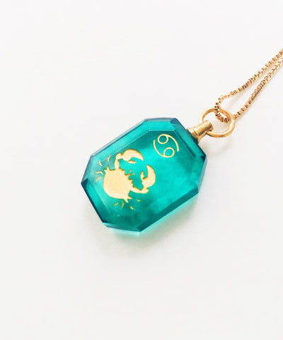 Cancer Necklace - Blue Zodiac Birthstone Crystal Pendant Necklace - Side Crystal Pendant
