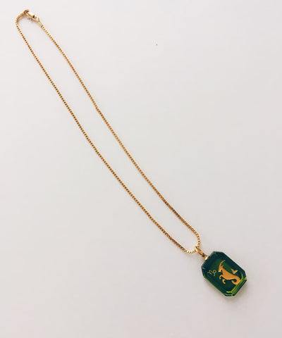Capricorn Necklace - Green Zodiac Birthstone Crystal Pendant Necklace - Full Necklace with Gold Plated Chain