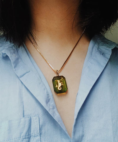 Capricorn Necklace - Green Zodiac Birthstone Crystal Pendant Necklace - Wearing on Model