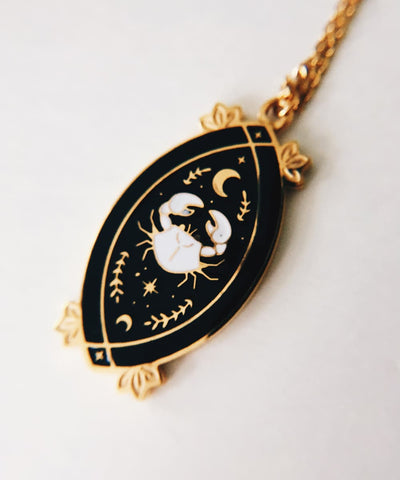 Crab Necklace - Black & White Enamel Gold Plated Gothic Animal Necklace - Pendant Closeup