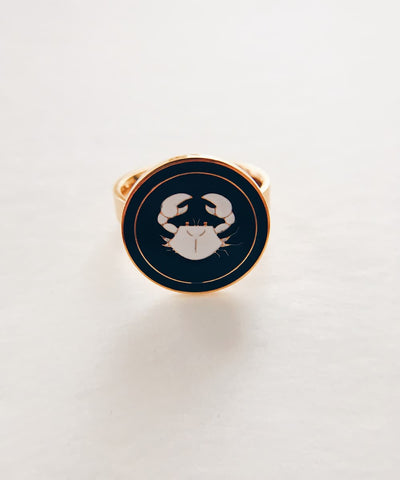 Crab Ring - Gold Coin Ring, Enamel Ring, Animal Spirit Ring, Black and White Animal Ring - Front