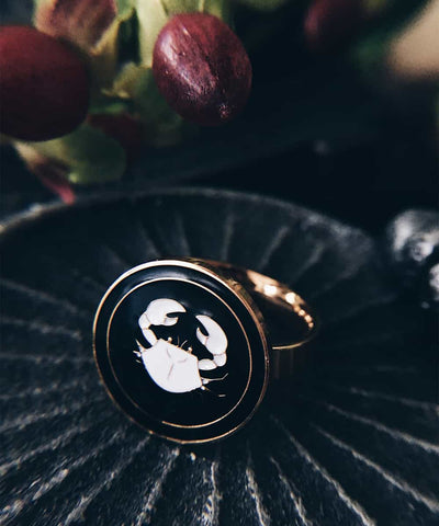 Crab Ring - Gold Coin Ring, Enamel Ring, Animal Spirit Ring, Black and White Animal Ring - On ritual altar - occult ring