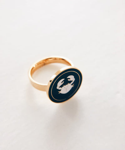 Crab Ring - Gold Coin Ring, Enamel Ring, Animal Spirit Ring, Black and White Animal Ring - Quarter