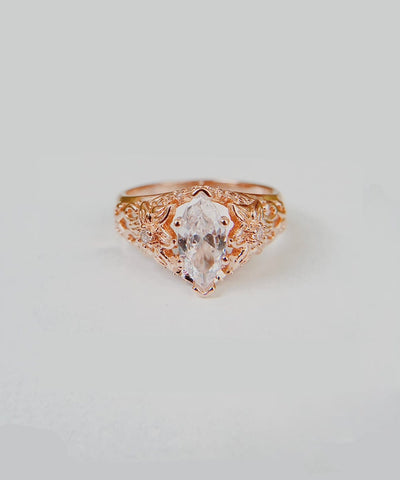 Dahlia Statement Ring - Rose Gold Statement, Marquise, Bohemian, Stackable, Delicate, Flower, Cubic Zirconia Ring - Dahlia Statement Ring - Rose Gold Statement, Marquise, Bohemian, Stackable, Delicate, Flower, Cubic Zirconia Ring