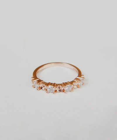 Gardenia Stacking Ring - Rose Gold Minimalist, Dainty, Thin, Stackable, Delicate, Flower, Cubic Zirconia Ring - Gardenia Stacking Ring - Rose Gold Minimalist, Dainty, Thin, Stackable, Delicate, Flower, Cubic Zirconia Ring