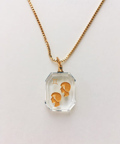 Gemini Necklace - Clear Zodiac Birthstone Crystal Pendant Necklace - Crystal Front