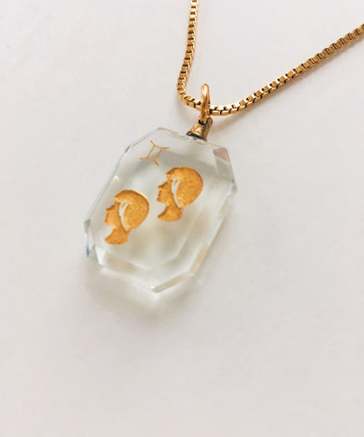 Gemini Necklace - Clear Zodiac Birthstone Crystal Pendant Necklace - Crystal Detail and Side